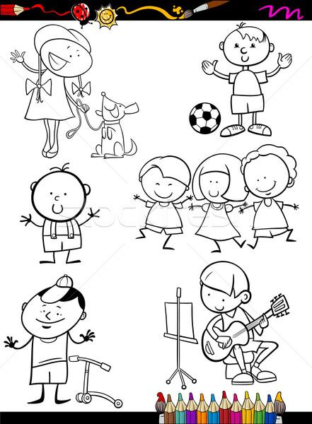 çocuklar ayarlamak karikatür sayfa boyama kitabı örnek Stok fotoğraf © izakowski