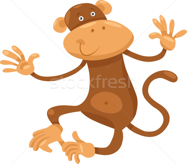 cute monkey cartoon illustration Stock photo © izakowski