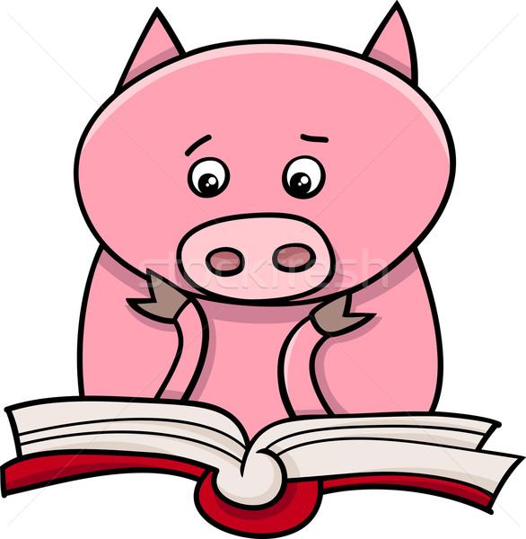 learning piglet cartoon illustration Stock photo © izakowski