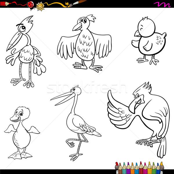 birds cartoon coloring page Stock photo © izakowski