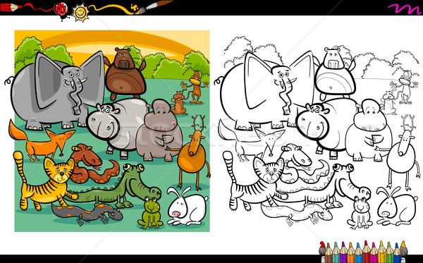 Vahsi Hayvanlar Sayfa Karikatur Ornek Boyama Kitabi