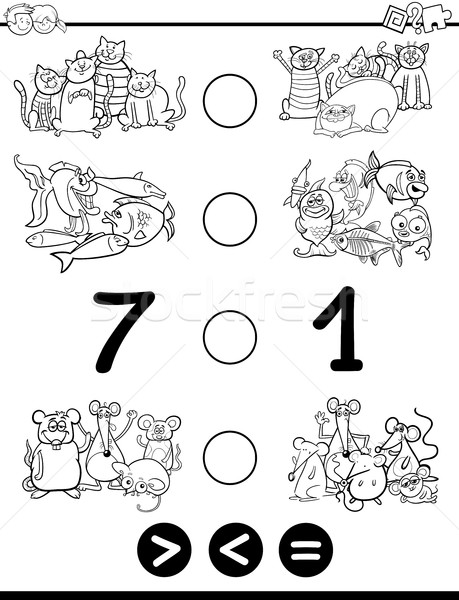 greater less or equal coloring page Stock photo © izakowski