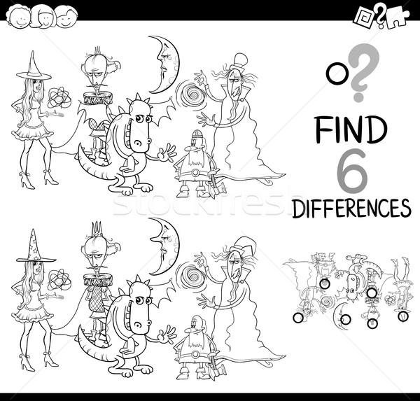 различия игры страница черно белые Cartoon иллюстрация Сток-фото © izakowski