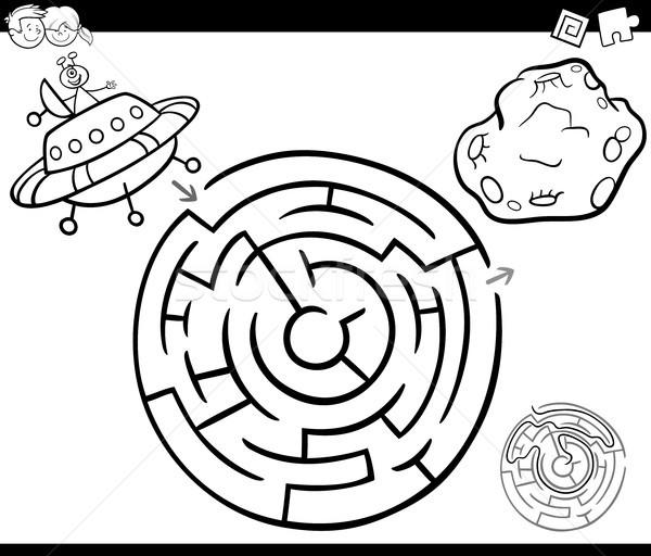 Labirintus UFO oldal feketefehér rajz illusztráció Stock fotó © izakowski