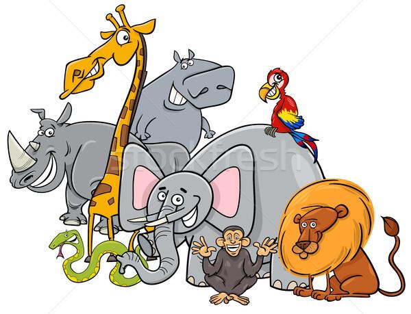 Cartoon safari dieren groep illustratie safari dier Stockfoto © izakowski