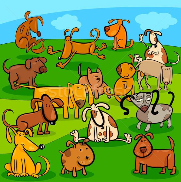 Köpekler karikatür grup örnek Stok fotoğraf © izakowski