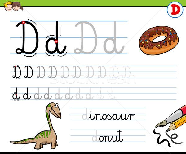 how to write letter D worksheet for kids Stock photo © izakowski