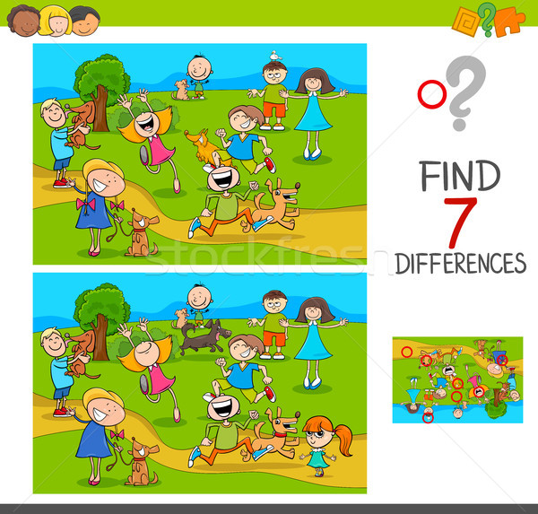 find differences with kids and dogs characters Stock photo © izakowski