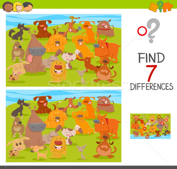 Stock photo: find differences game with dogs animal characters