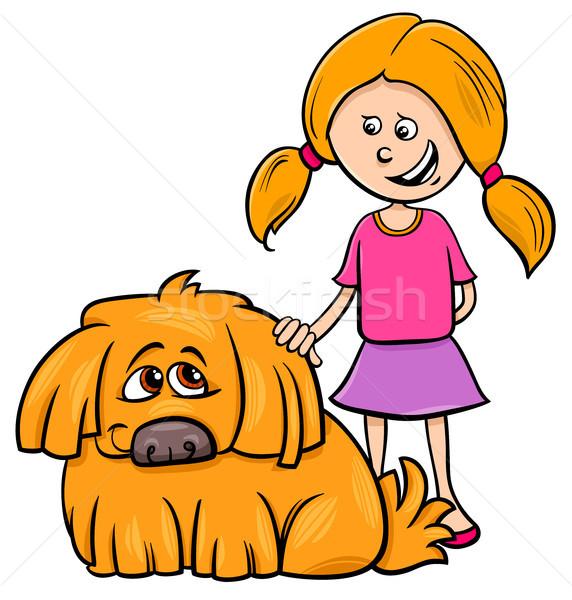 Lány kócos kutya rajz illusztráció gyerek Stock fotó © izakowski