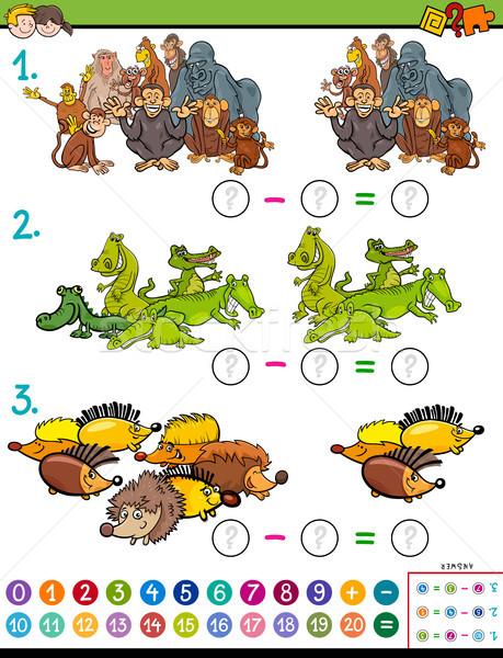 Matematyka odejmowanie gry dzieci cartoon Zdjęcia stock © izakowski