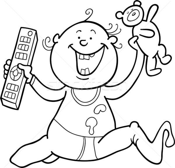 boy with remote control and teddy bear for coloring book Stock photo © izakowski