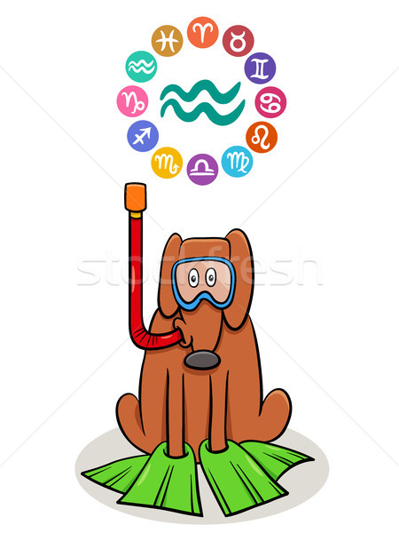 Aquarius Zodiac sign with cartoon dog Stock photo © izakowski