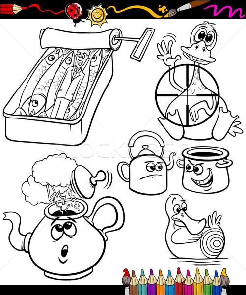 Gezegden ingesteld kleurboek pagina cartoon illustratie Stockfoto © izakowski