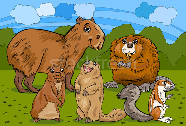 rodents animals cartoon illustration Stock photo © izakowski