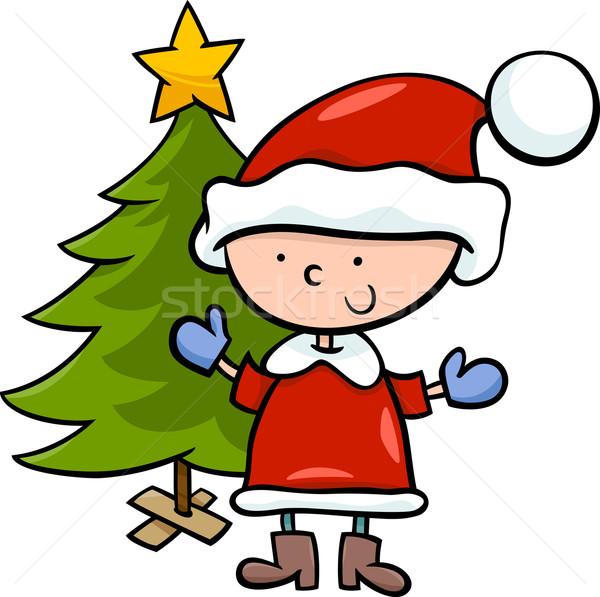 Papai · Noel · Menino · Desenho · Animado · Ilustração