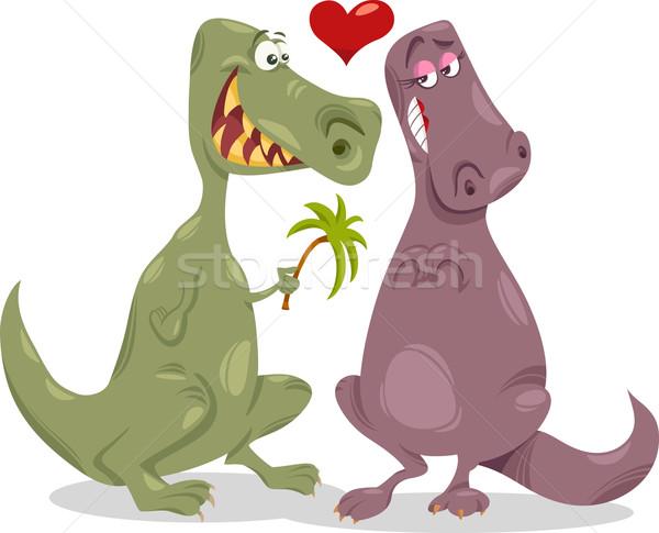 Stock photo: dinos in love cartoon illustration