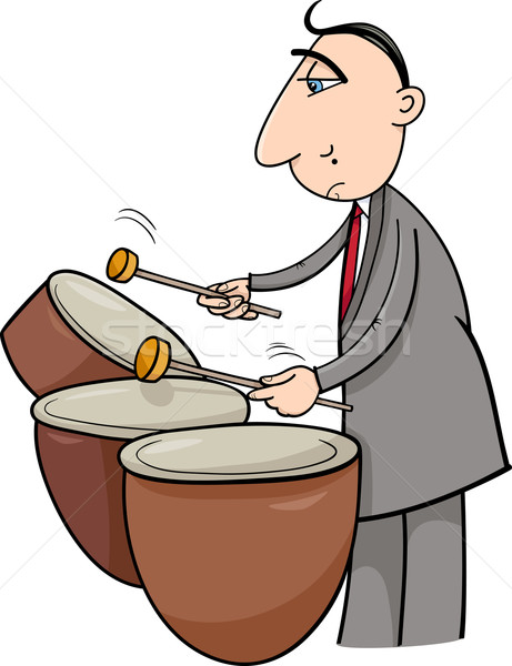 Trommelaar muzikant cartoon illustratie spelen drums Stockfoto © izakowski