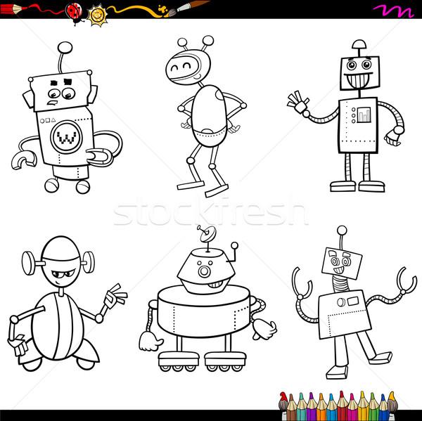 Robot Boyama Kitabı Karikatür örnek Fantezi Vektör