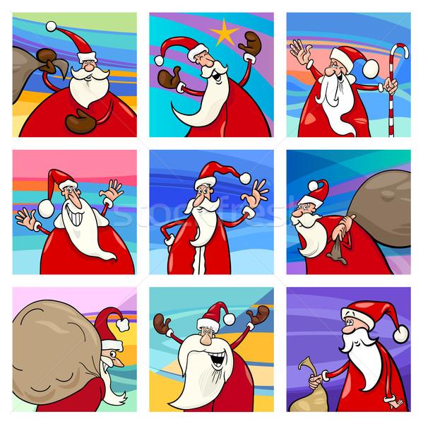 Foto stock: Navidad · Cartoon · tarjetas · establecer · ilustración