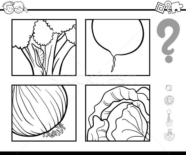 Odgadnąć warzyw kolorowanka czarno białe cartoon ilustracja Zdjęcia stock © izakowski
