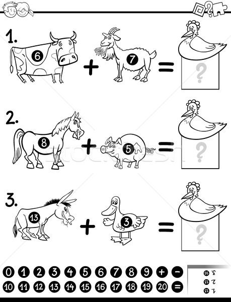 addition task coloring page Stock photo © izakowski