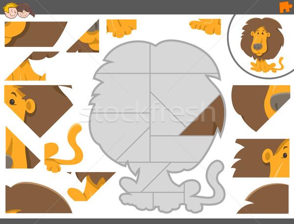 Oyun aslan karikatür örnek Stok fotoğraf © izakowski