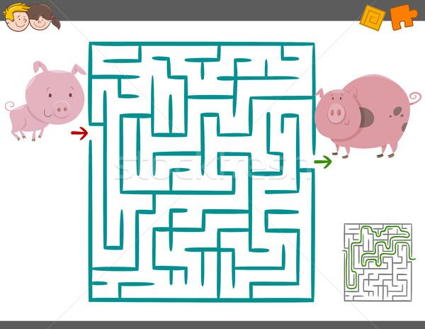 Labirent boş oyun domuzlar karikatür örnek Stok fotoğraf © izakowski
