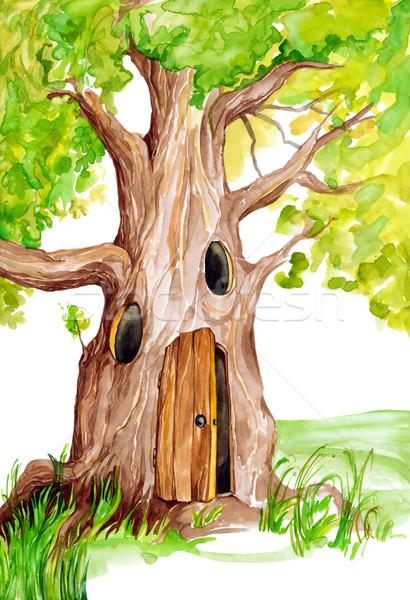 Tündérmese fa illusztráció varázslatos fű festmény Stock fotó © izakowski