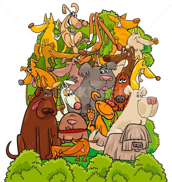 dog characters group cartoon illustration Stock photo © izakowski