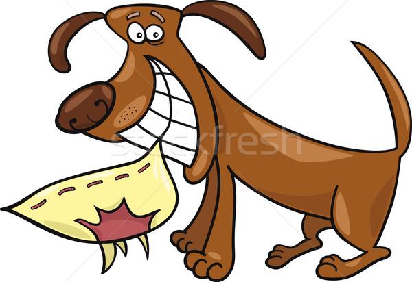 непослушный собака Cartoon иллюстрация улыбка счастливым Сток-фото © izakowski