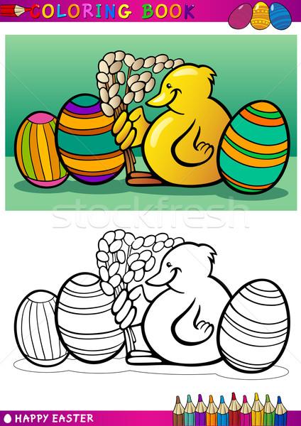 easter chick cartoon illustration for coloring Stock photo © izakowski