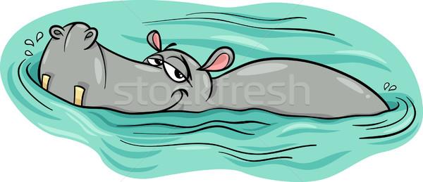 hippo or hippopotamus in river cartoon Stock photo © izakowski
