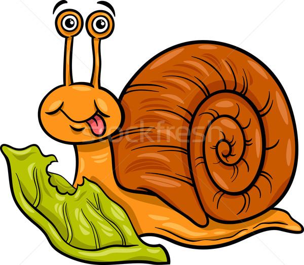 snail and lettuce cartoon illustration Stock photo © izakowski