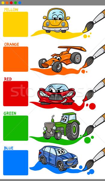 Stockfoto: Hoofd- · kleuren · cartoon · voertuigen · illustratie · primair