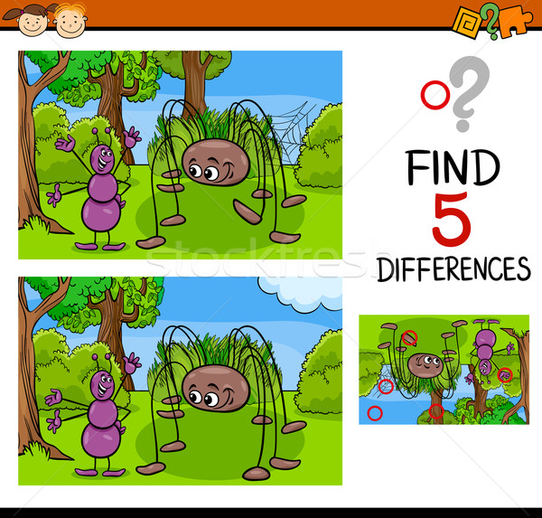 Scuola dell'infanzia compito differenze cartoon illustrazione Foto d'archivio © izakowski