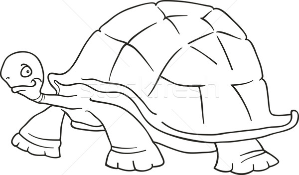 Stock Photo Vector Illustration Cartoon Of Funny Big Turtle For Coloring Book