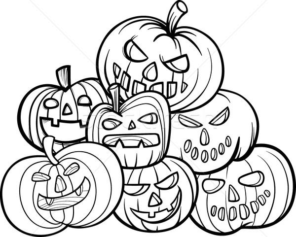 Halloween Dovleci Carte De Colorat Negru Alb
