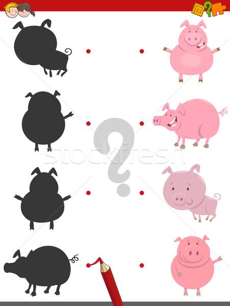 Gölge etkinlik domuz hayvanlar karikatür örnek Stok fotoğraf © izakowski