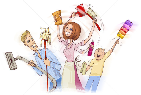 Family doing spring cleaning Stock photo © izakowski
