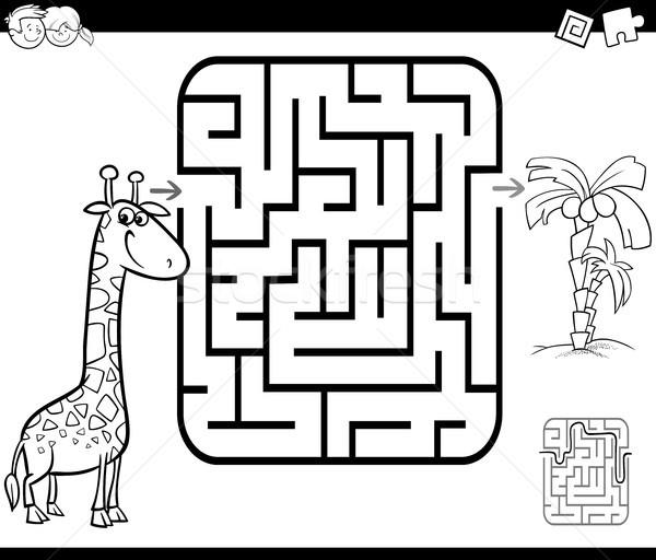 Labirintus tevékenység játék zsiráf pálma feketefehér Stock fotó © izakowski