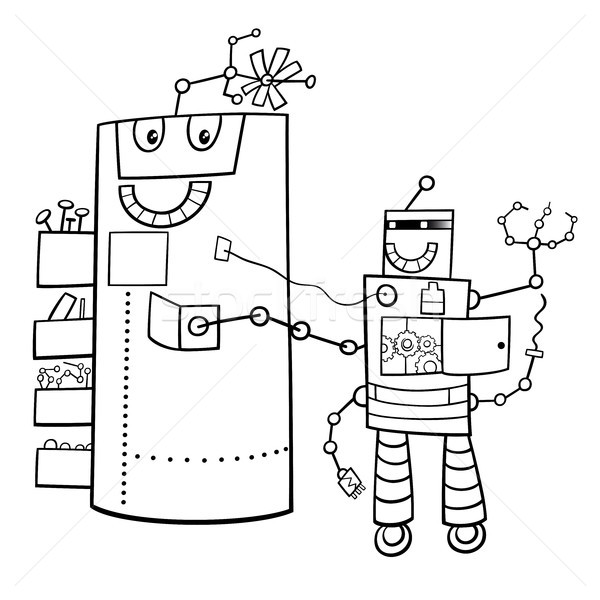 cartoon robots fantasy characters color book Stock photo © izakowski