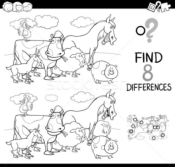differences game with farm animals color book Stock photo © izakowski