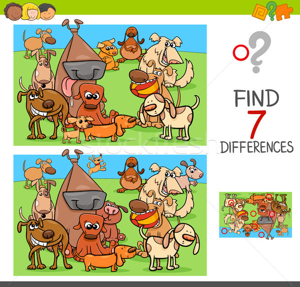 find differences game with dogs animal characters Stock photo © izakowski