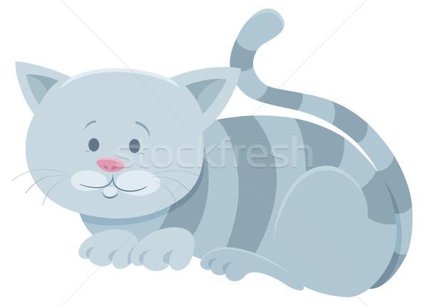 cute gray tabby cat cartoon animal character Stock photo © izakowski
