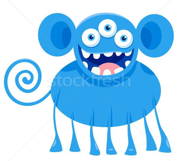 blue monster fantasy character cartoon illustration Stock photo © izakowski
