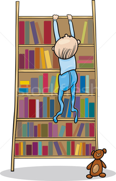 baby boy climbing on bookcase Stock photo © izakowski