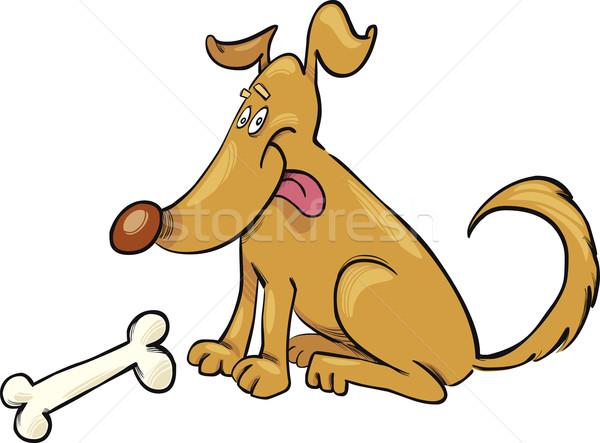 Happy Dog with Bone Stock photo © izakowski