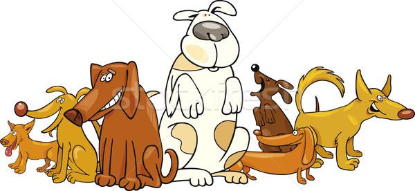 Csoport vicces kutyák rajz illusztráció kutyakölyök Stock fotó © izakowski