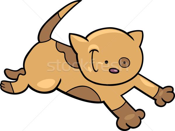 работает котенка Cartoon иллюстрация Cute кошки Сток-фото © izakowski